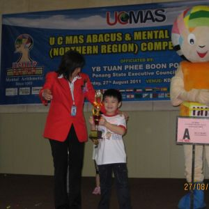 Age 6, 2nd Runner Up (3rd prize) in UCMAS Northern Region Competition 2011